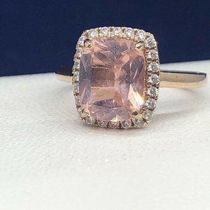 Rose Gold Over Sterling Silver Morganite Halo Ring